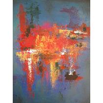 Pintura Abstracta, Fondo Azul, Colores Calidos